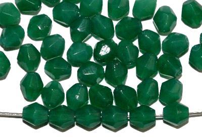 Best.Nr.:26076 facettierte Glasperlen bicon, alabaster grün, hergestellt in Gablonz / Tschechien,