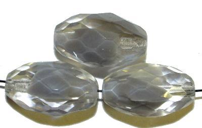 Best.Nr.: 26385 Glasperlen Oliven facettiert, grau kristall, hergestellt in Gablonz / Böhmen