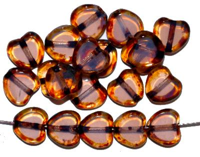 Best.Nr.:671360 Glasperlen / Table Cut Beads, rose`, geschliffen mit picasso finish, hergestellt in Gablonz / Tschechien