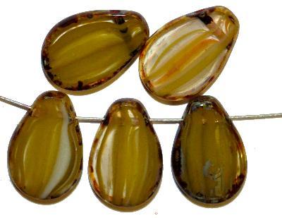 Best.Nr.:671132 Glasperlen / Table Cut Beads,  oliv kristall,  geschliffen mit picasso finish