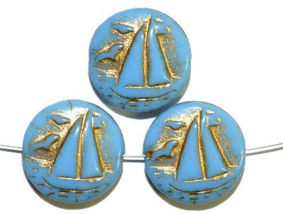 Best.Nr.:59232 Vintagestyle Glasperlen  hellblau opak mit Goldauflage,  nach alten Vorlagen aus den 1940/50 Jahren neu gefertigt in Gablonz / Tschechien
