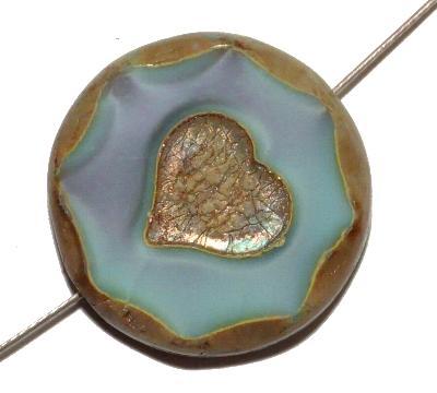 Best.Nr.:67929 Glasperlen / Table Cut Beads mit eingeprägtem Herz, grau mit etwas türkis, opak, geschliffen mit burning silver picasso finish