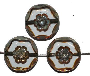 Best.Nr.:67989 Glasperlen geschliffen / Table Cut Beads, kristall, mit eingepägtem Blütenornament, und burning silver picasso finish