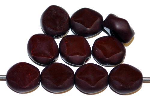 Best.Nr.:67558 Glasperlen / Table Cut Beads  geschliffen, aubergine Rand mattiert,  hergestellt in Gablonz Tschechien