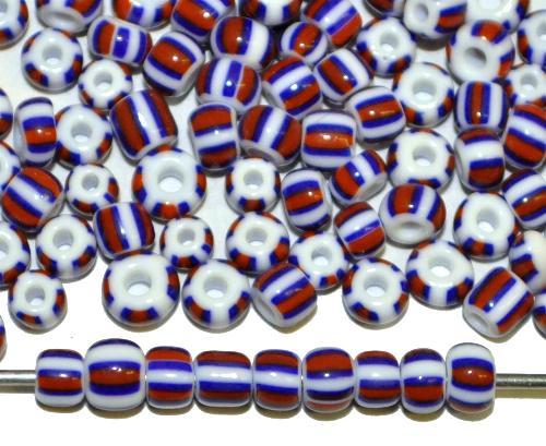 Best.Nr.:13002 Rocailles von Ornella Preciosa Tschechien,  weiß blau rot gestreift