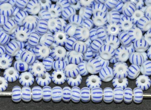 Best.Nr.:13003 Rocailles von Ornella Preciosa Tschechien, weiß blau gestreift