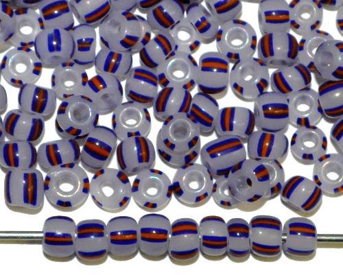Best.Nr.:13009 Rocailles von Ornella Preciosa Tschechien,  alabasterweiß blau rot gestreift