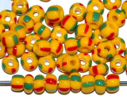 Best.Nr.:13011 Rocailles von Ornella Preciosa Tschechien, gelb grün rot gestreift