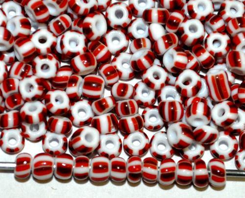 Best.Nr.:13024 Rocailles von Ornella Preciosa Tschechien, weiß rot gestreift