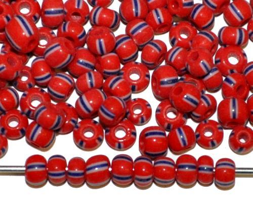 Best.Nr.:13030  Rocailles von Ornella Preciosa Tschechien,  rot weiß schwarz gestreift