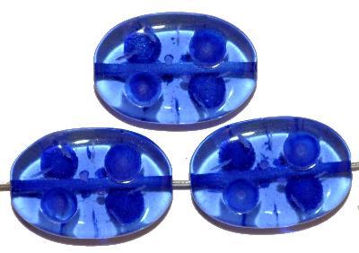 Best.Nr.:s-0010 Glasperlen hergestellt in Gablonz / Tschechien, Olive flach, blau transp. mit Farbauflage (eingebrannt)