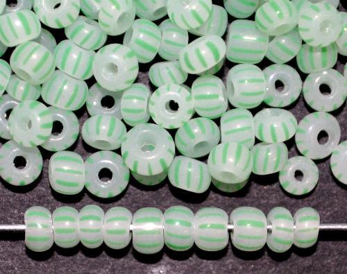 Best.Nr.:13046 Rocailles von Ornella Preciosa Tschechien,  alabasterweiß grün gestreift
