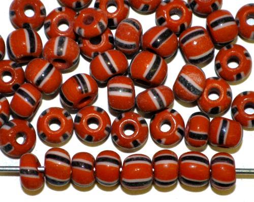 Best.Nr.:13057/100  Rocailles von Ornella Preciosa Tschechien,  ziegelrot weiß schwarz gestreift
