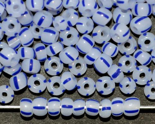 Best.Nr.:13059 Rocailles von Ornella Preciosa Tschechien,  alabasterweiß blau gestreift