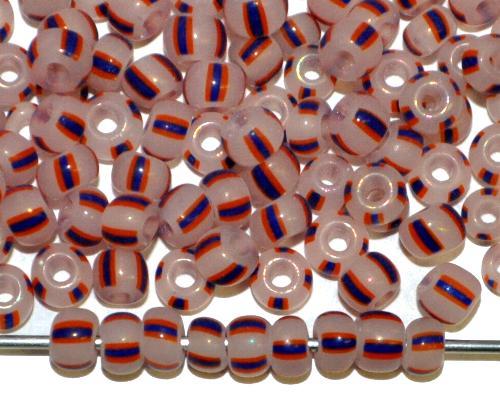 Best.Nr.:13060 Rocailles von Ornella Preciosa Tschechien,  alabasterweiß blau rot gestreift
