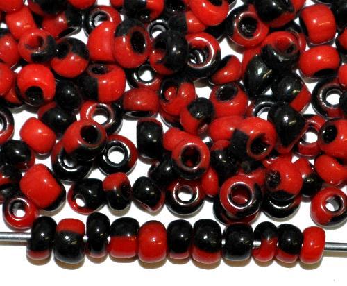 Best.Nr.:13063/100  Rocailles von Ornella Preciosa Tschechien,  rot schwarz gestreift