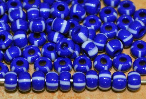 Best.Nr.:13067 Rocailles von Preciosa Ornella Tschechien,  blau weiß gestreift