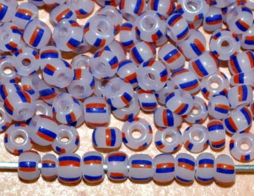 Best.Nr.:13068  Rocailles von Ornella Preciosa Tschechien,  alabasterweiß blau rot gestreift