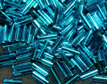 Best.Nr.:21061 Glasperlen / Stiftperlen von Preciosa Tschechien hergestellt, türkis mit Silbereinzug