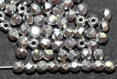 Best.Nr.:28370 facettierte Glasperlen, silberfarben, in Gablonz/Böhmen hergestellt,