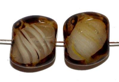 Best.Nr.:671394 Glasperlen / Table Cut Beads geschliffen mit Travertin-Veredelung
