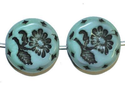 Best.Nr.:59122 vintage style Glasperlen, mit eingeprägter Blüte , nach alten Vorlagen aus den 1930 Jahren in Gablonz/Böhmen neu gefertigt,