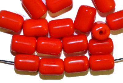 Best.Nr.:48018 Glasperlen  Walze rot opak, hergestellt in Gablonz / Tschechien