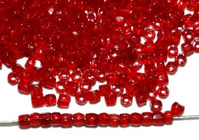 Best.Nr.:18010 3-Cutbeads von Ornella Preciosa Tschechien rot transp.