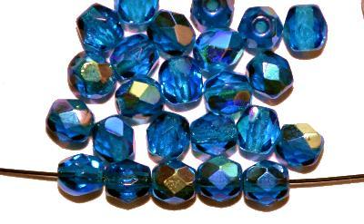 Best.Nr.:28245 facettierte Glasperlen  montanablau mit AB, hergestellt in Gablonz / Tschechien