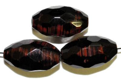 Best.Nr.: 26620 Glasperlen Oliven facettiert, schwarz braun, hergestellt in Gablonz / Böhmen
