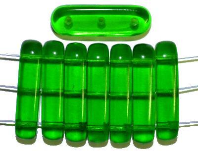 Best.Nr.:79013 Glasperlen mit 3 Löchern,  grün transparent,  hergestellt in Gablonz / Tschechien