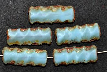 Best.Nr.:671261 Glasperlen / Table Cut Beads Perlettglas hellblau, mit picasso finish