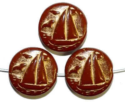 Best.Nr.:59231 Vintagestyle Glasperlen  braun opak mit Goldauflage,  nach alten Vorlagen aus den 1940/50 Jahren neu gefertigt in Gablonz / Tschechien