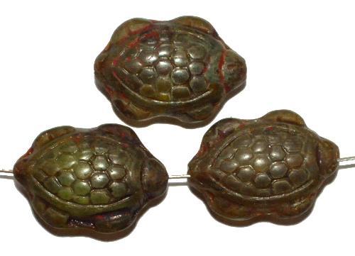 Best.Nr.:51017 Glasperlen Schildkröte, Vorder-und Rückseite geprägt, mit picasso finish