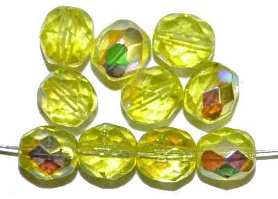 Best.Nr.:28001 facettierte Glasperlen  gelb transp. mit AB, hergestellt in Gablonz / Tschechien,