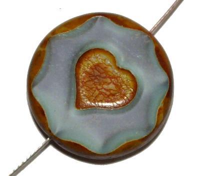 Best.Nr.:67976 Glasperlen / Table Cut Beads mit eingeprägtem Herz, grau mit etwas türkis, opak, geschliffen mit picasso finish
