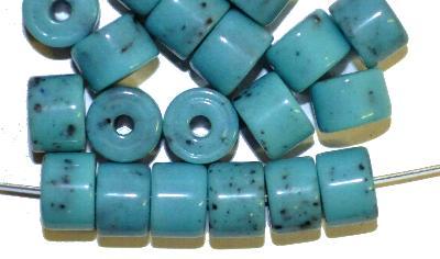 Best.Nr.:63877 Glasperlen, in den 1930/40 Jahren in Gablonz/Böhmen hergestellt,  türkis (Prosserbeads)