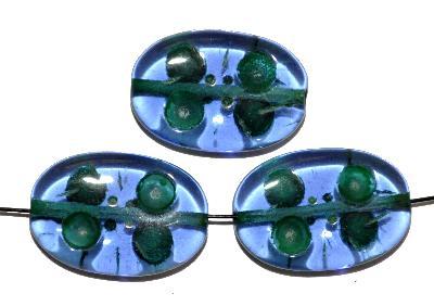 Best.Nr.:s-0041 Glasperlen hergestellt in Gablonz / Tschechien, Olive flach, blau transp. mit Farbauflage (eingebrannt)
