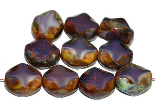Best.Nr.:671444 Glasperlen / Table Cut Beads  geschliffen, Perlett violett mit picasso finish,  hergestellt in Gablonz Tschechien