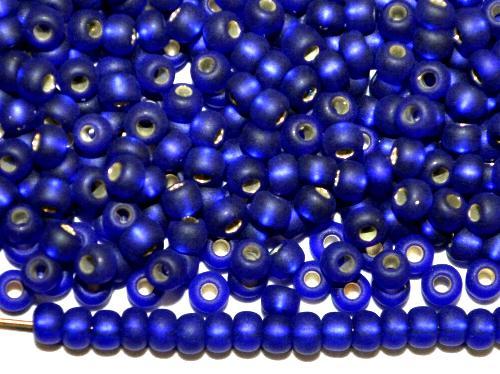 Best.Nr.:14063 Rocailles von Ornella Preciosa Tschechien,  dunkelblau mattiert (frostet) mit Silbereinzug