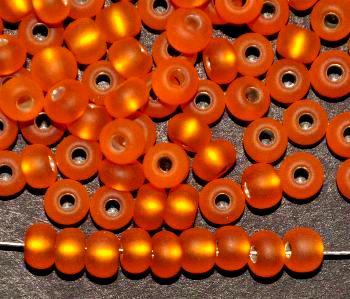 Best.Nr.:14047 Rocailles von Preciosa Tschechien orange mattiert (frostet) mit Silbereinzug