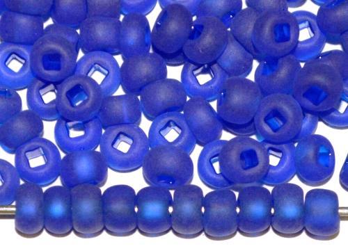 Best.Nr.:14084 Rocailles von Preciosa Tschechien blau transp. mattiert (frostet) Loch viereckig