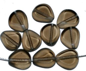 Best.Nr.:671215 Glasperlen / Table Cut Beads geschliffen,rauch Rand mattiert (frostet)