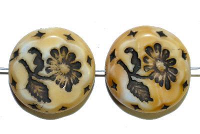 Best.Nr.:59168 vintage style Glasperlen, mit eingeprägter Blüte , nach alten Vorlagen aus den 1930 Jahren in Gablonz/Böhmen neu gefertigt,