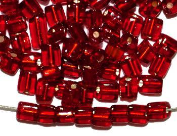 Best.Nr.:19311 Glasperlen / cut pipes von Preciosa Ornella Tschechien, mit rot mit Silbereinzug,  Rechteckform abgeschrägten