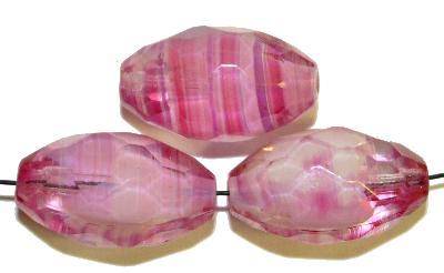 Best.Nr.:26458 Glasperlen geschliffen Oliven kristall rosa weiß, hergestellt in Gablonz / Tschechien