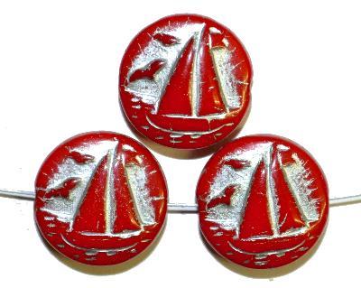 Best.Nr.:59230 Vintagestyle Glasperlen  rot opak mit Silberauflage,  nach alten Vorlagen aus den 1940/50 Jahren neu gefertigt in Gablonz / Tschechien