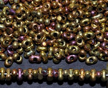 Best.Nr.:00812 Farfalle Rocailles von Preciosa Tschechien metallic mit cut (angeschliffene Oberfläche)