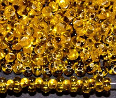 Best.Nr.:00838 Farfalle Rocailles von Preciosa Tschechien gelb mit Silbereinzug