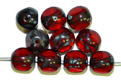 Best.Nr.:27523 Glasperlen, 3 Seiten geschliffen granatrot mit picasso finish, hergestellt in Gablonz / Tschechien
